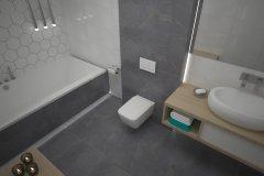 0106. lazienka szaro biala beton hexagon, bathroom grey white concrete