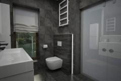 0107. lazienka czarno biala stone box, bathroom black and white