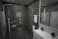 0108. lazienka czarno biala stone box, bathroom black and white