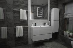 0109. lazienka czarno biala stone box, bathroom black and white