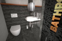 0110. LAZIENKA CZARNA POMARANCZOWA BATHROOM BLACK ORANGE