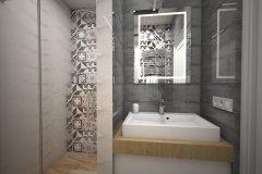 0117. LAZIENKA LOFT DREWNO SZAROSC PATCHWORK BATHROOM LOFT WOOD GREY