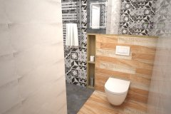 0118. LAZIENKA LOFT DREWNO SZAROSC PATCHWORK BATHROOM LOFT WOOD GREY