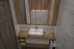 119. mala toaleta biala z drewnem small bathroom white wood