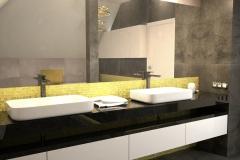 120. lazienka czarna biala szara zloto bathroom black white grey gold