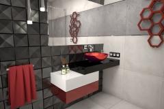121. lazienka mala szary czarny czerwony bez small bathroom grey black red beige