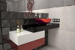 122. lazienka mala szary czarny czerwony bez small bathroom grey black red beige