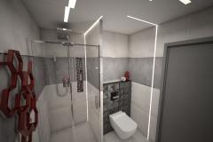 123. lazienka mala szary czarny czerwony bez small bathroom grey black red beige