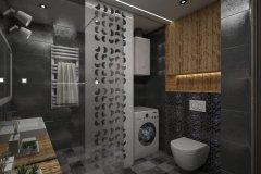 124. lazienka czarna prysznic szyba drewno mozaika zabudowana pralka bathroom black shower glass mosaic