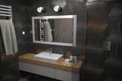 125. lazienka czarna prysznic szyba drewno mozaika zabudowana pralka bathroom black shower glass mosaic