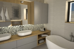 126. lazienka szara dwie umywalki drewno duze lustro wanna bathroom grey two sink wood big mirror bath