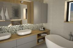 126. lazienka szara dwie umywalki drewno duze lustro wanna bathroom grey two sink wood big mirror bath