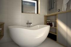 127.  lazienka szara dwie umywalki drewno duze lustro wanna bathroom grey two sink wood big mirror bath