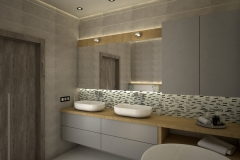 128. lazienka szara dwie umywalki drewno duze lustro wanna bathroom grey two sink wood big mirror bath