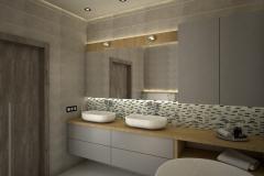 128. lazienka szara dwie umywalki drewno duze lustro wanna bathroom grey two sink wood big mirror bath