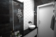 131. mala lazienka czarny srebrny hexagony bialy small bathroom black silver white hexagons