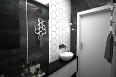 131. mala lazienka czarny srebrny hexagony bialy small bathroom black silver white hexagons