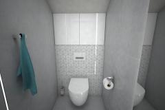 140. mala toaleta szara hexagony small toilet grey hexagons