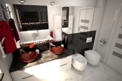 189.-lazienka-czarno-biala-z-czerwona-moazika-i-czerwonymi-szklanymi-umywalkami-bathroom-black-and-white-and-red-mosaic-and-red-sink