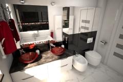 189.-lazienka-czarno-biala-z-czerwona-moazika-i-czerwonymi-szklanymi-umywalkami-bathroom-black-and-white-and-red-mosaic-and-red-sink