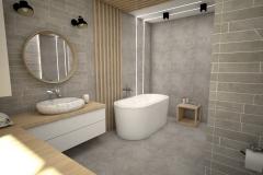 193.-lazienka-szara-beton-kamien-drewno-wanna-wolnostojaca-umywalka-nablatowa-okragle-lustro-bathroom-grey-stone-concrete-wood