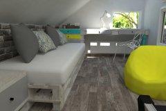 0011. pokoj nastolatki lozko z palet turkus zolty bialy turquoise yellow white teenagers bedroom
