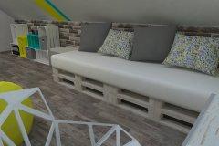 0012. pokoj nastolatki lozko z palet turkus zolty bialy turquoise yellow white teenagers bedroom
