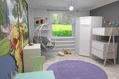 0013. pokoj dzieciecy, biały, szary, pastelowy, children room white, grey, pastel