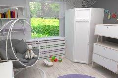 0014. pokoj dzieciecy, biały, szary, pastelowy, children room white, grey, pastel