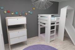 0015. pokoj dzieciecy, biały, szary, pastelowy, children room white, grey, pastel