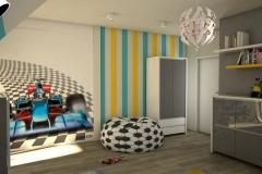 0031. pokoj dzieciecy mlodziezowy szary bialy formula 1 zolty niebieski drewno children room grey white racing yellow blue wood