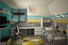 0033.  pokoj dzieciecy mlodziezowy szary bialy formula 1 zolty niebieski drewno children room grey white racing yellow blue wood