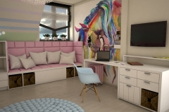 0034. pokoj dla dziewczynki tecza rozowy kon bialy drewno room for girl rainbow pink pony horse white wood
