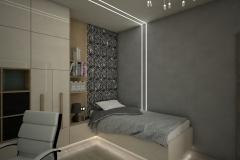 0035. pokoj mlodziezowy szary beton zebra bezowy polysk czarny bialy children room grey concrete beige gloss black white