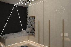 0036. pokoj mlodziezowy szary beton zebra bezowy polysk czarny bialy children room grey concrete beige gloss black white