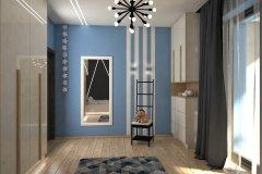 0038. pokoj mlodziezowy szary niebieski beton zebra bezowy polysk czarny bialy children room grey blue concrete beige gloss black white