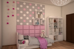 0041. pokoj dla dziewczynki slodki przytulny rozowy bialy szary kropki poduszki children room for girl for little princess sweet cozy pink white grey dots pillows