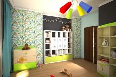 0042. pokoj dzieciecy dla chlopca dzungla zielony czarny niebieski drewno children room for boy jungle green black blue wood