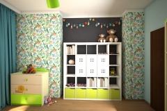 0043. pokoj dzieciecy dla chlopca dzungla zielony czarny niebieski drewno children room for boy jungle green black blue wood