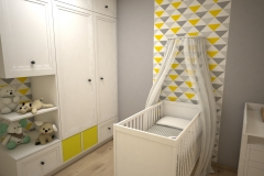 044. pokoj dzieciecy bialy szary zolty children room white grey yellow