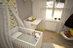 045. pokoj dzieciecy bialy szary zolty children room white grey yellow