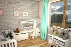 046. pokoj dzieciecy bialy szary kropki zielony drewno meble ikea children room white grey dots green wood furniture ikea