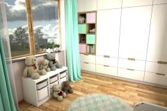 047. pokoj dzieciecy bialy szary kropki zielony drewno meble ikea children room white grey dots green wood furniture ikea