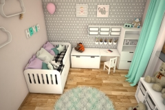 048. pokoj dzieciecy bialy szary kropki zielony drewno meble ikea children room white grey dots green wood furniture ikea