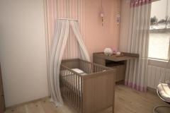 049. pokoj dzieciecy rozowy pomaranczowy brazowy drewno children room pink orange brown wood