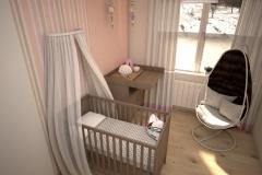 050. pokoj dzieciecy rozowy pomaranczowy brazowy drewno children room pink orange brown wood