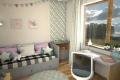 051. pokoj dzieciecy szary zielony rozowy bialy drewno children room grey green pink white wood