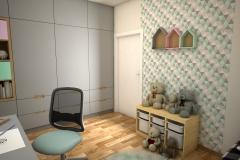 052. pokoj dzieciecy szary zielony rozowy bialy drewno children room grey green pink white wood
