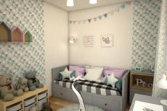 053. pokoj dzieciecy szary zielony rozowy bialy drewno children room grey green pink white wood