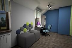 057. pokoj mlodziezowy niebieski zielony szary drewno panele tapicerowane paski children room blue green grey wood stripes